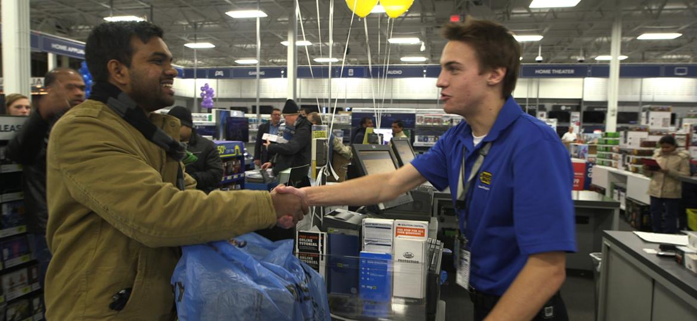 Customer shake hands