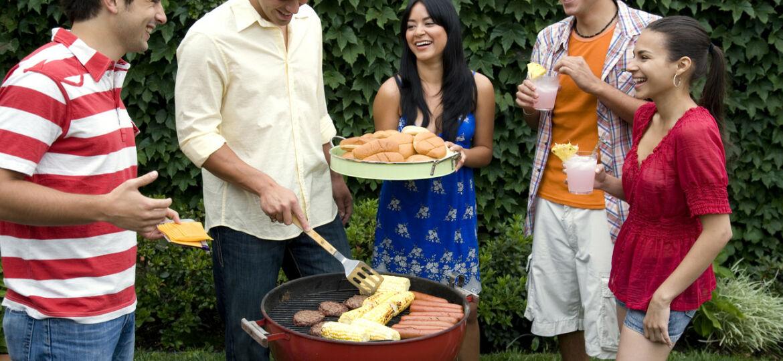 Hispanic friends having barbecue