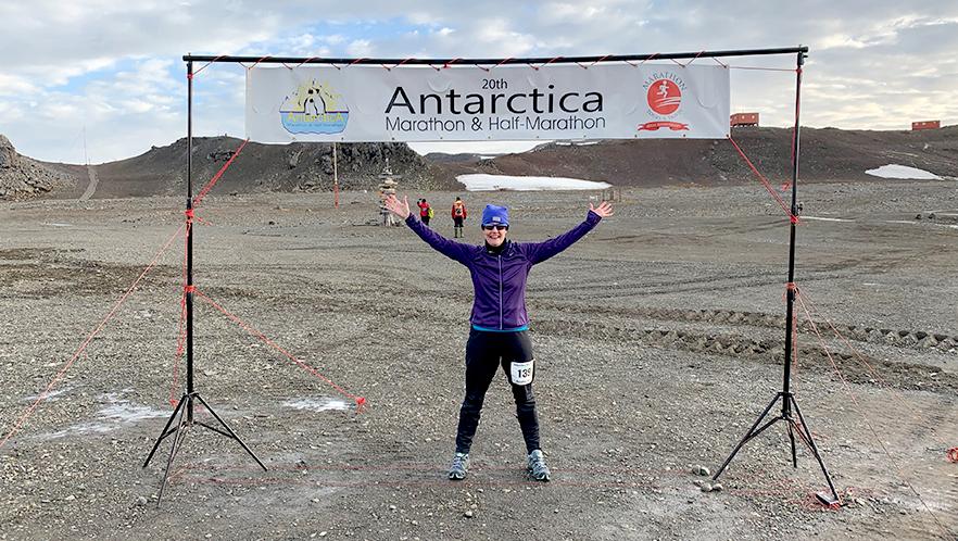 Marathon finish in Antarctica